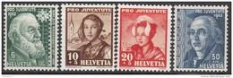 """SCHWEIZ 412-415, Postfrisch **, """"Pro Juventute"""" 1942, Nikolaus Riggenbach, Frauentrachten, Hans Konrad Escher V.d. Linth"""