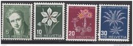"""SCHWEIZ 475-478, Postfrisch **, """"Pro Juventute"""" 1946, Rodolphe Töpffer, Alpenblumen"""