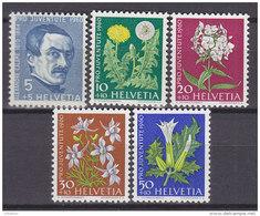 SCHWEIZ  722-726 Postfrisch **, Pro Juventute 1960, Wiesen- Und Gartenblumen