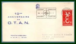 France N° 1173 Obl 10é An. Alliance Atlantique OTAN Fontainebleau 4/4/ 1959