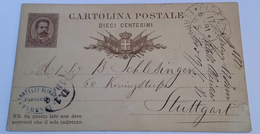 1881 INTERO POSTALE X ESTERO IMPERO TEDESCO DA FIRENZE A STUTTGART (328) - Interi Postali