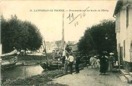 Cpa LANGOIRAN LE TOURNE 33 Promenade Sur Les Bords De L' Estey -  Gabarre - France
