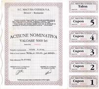 Romania, 1993, Magura Codlea Company - Vintage Bond Certificate & Coupons, 5000 Lei - M - O