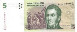 ARGENTINA 5 PESOS ND (2012) P-353a UNC SERIES G, SIGN: PONT &  COBOS [ AR353a4 ] - Argentinië