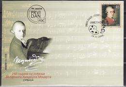 SERBIA 2006 250th Birth Anniversary Of Mozart  FDC - Music