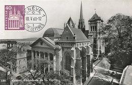 D30036 CARTE MAXIMUM CARD 1960 SWITZERLAND - CATHEDRAL GENEVE CP ORIGINAL - Churches & Cathedrals