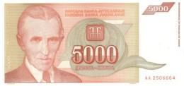 YUGOSLAVIA 5000 DINARA 1993 P-128 XF [YU128] - Yugoslavia