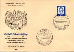 """Bundesrepublik Schmuck-FDC Freimarken Bedeutende Deutsche """"Gotthold Ephraim Lessing"""" Mi. 355x   ESSt. 28.6.1961 BONN 1 - FDC: Sobres"""