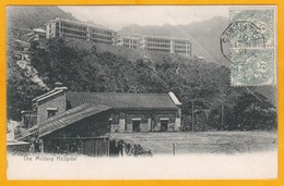 1907 - CP De Hong Kong Vers Toulouse, France  - Ligne N. Paq. Fr. N° 3 - Paire 5 C Type Blanc - Vue Hôpital Militaire - Marcophilie (Lettres)