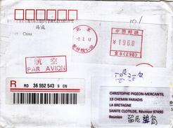 Enveloppe (recommandée) CHINE Ayant Circulé Vers LA REUNION - 08.02.2017 - Cina