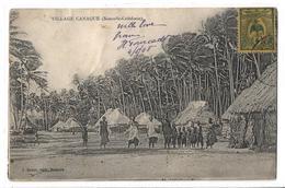 CPA Village Canaque Nouvelle Calédonie Très Animée Personnages Adultes Et Enfants Circulée 1908 - Nouvelle Calédonie