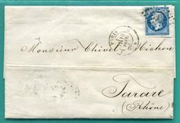 M10 : TAD CONVOYEUR AMBULANT PARIS A LYON ( AU VERSO ) FEV 1857 + TAD TARARE + TAD PARIS  * SUR NAPOLEON 14 - Marcophilie (Lettres)