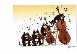 Cpm - ILLUSTRATION Claude Henri Saunier - CHAT - CHATS MUSICIENS - Violon Violoncelle - 2011 - - Gatos