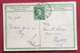 AUSTRIA  - CARTOLINA  POSTALE GIUBILEO  H. 5  DA PRAHA 1 PRAG 1 A  PÖGGSTALL  IN DATA 19/11/1908 - 1850-1918 Impero