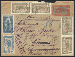 10c. Postal Cover (PS) + Scott 1 X5 + 2 Strip Of 3 + 4 + 10, Sent Registered From QUESSO To Germany On 6/JUN/1913,...