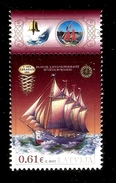 2017 LATVIA , Latvian Ships - Schooner Abraham 1891 STAMP MNH - Ships