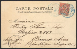 PC (view Of A Mulatto Woman From Saint-Pierre), Franked By Sc.39, Sent From Fort De France To Argentina On...