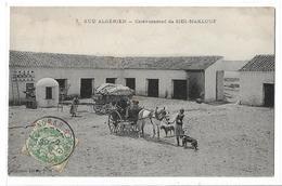 CPA Algérie 7 Sud Algérien Caravansérail De Sidi Maklouf Animée Personnages Enfant Cheval Chien Calèche Circulée 1909 - Algeria