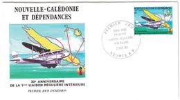 NOUVELLE CALEDONIE - 1985 ENVELOPPE ILLUSTRÉE N° 247 PA ANNIVERSAIRE LIAISON INTERIEURE PREMIER JOUR FDC NOUMEA AERIENNE - Nieuw-Caledonië