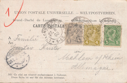 Carte Union Postale Universelle CaD Luxembourg 5,4&1c - 1895 Adolphe Right-hand Side