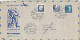 Sweden First SAS DC-6 Direct Flight Stockholm - Bangkok 26-10-1949 Air Mail Cover With Cachet - Suède