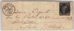 LETTRE AVEC CERES 20 ç NOIR OBLITERE GRILLE  ET CAD DE ORGERES EURE ET LOIR  FRANCE COVER - 1849-1876: Periodo Classico