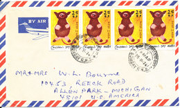 India Air Mail Cover Sent To USA 25-11-1974 With A Lot Of Topic Stamps On Front And Backside Of The Cover