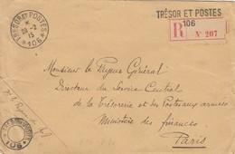 LETTRE. 28 2 1915. TRESOR ET POSTES 106. ARMEES DU NORD. RECOMMANDE.  POUR PARIS    /  2 - Marcofilia (sobres)
