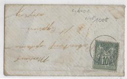 TYPE SAGE N/U - 1877 - RARE 10c SEUL Sur LETTRE De VILLECOMTAL (AVEYRON) => ST CYPRIEN - Marcophilie (Lettres)