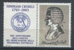 103 ITALIE 2003 - Tommaso Crudeli - Masonic Franc Maconnerie - Neuf Sans Charniere (Vignette) - Franc-Maçonnerie