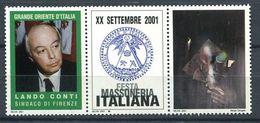 103 ITALIE 2001 - Lando Conti - Masonic Franc Maconnerie Freemasonery - Neuf ** (MNH) Sans Charniere (Vignette) - Franc-Maçonnerie