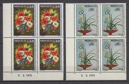 MONACO 1975 - SERIE EN BLOC DE 4 TP N° 1035 Et 1036 COINS DE FEUILLES / DATES  - 8 TP NEUFS** C4 - Monaco
