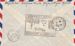 LETTRE. 28 9 1950.  PARIS MONTREAL.RECOMMANDE TEZAN-LES-BEZIERS HERAULT /   2104 - Air Post