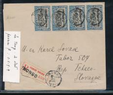 BELGIAN CONGO  EMISSION DE 1915 TIMBRE DE CARNET SUR LETTRE RECOMMANDEE D'INONGO EN 1921 VERS LA TCHECOSLOVAQUIE