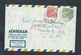 SUÈDE SWEDEN 1951 AÉROGRAM POUR TRENTON NEW JERSEY USA :