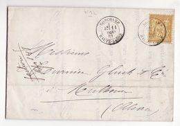 Pli De Mars 1883    RONCHAMP    Timbre N°92 - Postmark Collection (Covers)