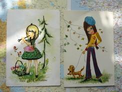 2 Cartes Avec Ajouts De Matières Textiles - Cartoline
