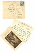 HB-P 186 FRANCE Enveloppe Avec YT N°222 (Pasteur 1926-27) Seul à 10% De La Cote + Courrier + Image Pieuse - Marcophilie (Lettres)