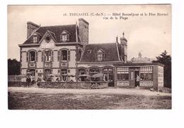 22 Tregastel Hotel Beau Sejour Beausejour Cpa Animée , Hotel Et Le Pere Eternel Vus De La Plage - Trégastel