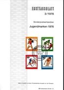 ALLEMAGNE  BERLIN  Carte Notice 1er Jour 1976 Hockey Sur Gazon Poids Natation Handball