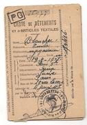 FRANCE - 1946 CARTE De VÊTEMENTS Et D´ARTICLES TEXTILES - COMUNE DE PARIS -  Joints Utilisés - Documentos Históricos