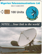 NIGERIA - Earth Station, Nigerian Telecom Ltd First Chip Issue 100 Units(8NAIFIA-letraset Writing), Chip Sie 37, Used - Nigeria