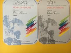 4173 - Fendant & Dôle  1993  Motel Des Sports Réserve Edgar Grognuz Valais Suisse 2 étiquettes - Etiquettes
