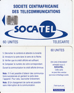 CENTRAL AFRICAN REPUBLIC - SOCATEL Logo Blue(60 Units), Chip SC7, No Moreno Logo-no BN, Used - Central African Republic