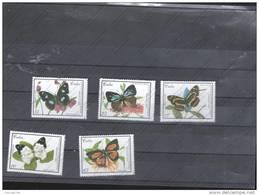 SELLOS  DE CUBA   N IVER  3852 Al 3856 - Butterflies