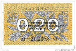 Lithuania - Pick 30 - 0.20 Talonas 1991 - Unc - Lituanie