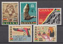 Ghana 1963 Mi.nr: 157-161 Nubischen Denkmäler  Neuf Sans Charniere /MNH / Postfris - Ghana (1957-...)