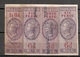 UK - Victoria FOREIGN BILL 4 REVENUE STAMPS On Card - Steuermarken