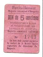 Bon De 5c De Ravitaillement Magasin Communal D' HERGNIES 14-18 - Bons & Nécessité