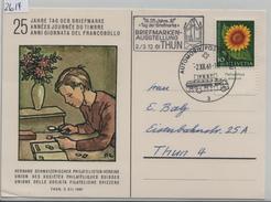 1961 Journee Du Timbre Tag Der Briefmarke - Stempel: Briefmarken-Ausstellung Thun J189/743 - Storia Postale